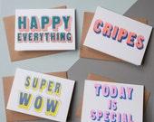 Riso Print Greetings Card Set (4)