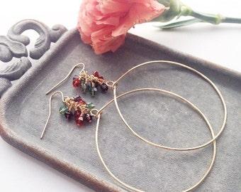 Crystal Earrings, Multicolor Earrings, Crystal Jewelry, Large Gold Hoop, Bohemian Jewelry, Gold Dangle Earrings