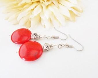 Red Turquoise Earrings, Bohemian Earrings, Boho Earrings, Nickel Free Earrings, Beaded Earrings, Clip On Earrings, Cherry Red Drop Earrings
