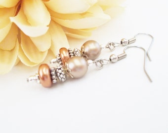 Champagne Earrings, Copper Pearl Drop Earrings, Taupe Bridesmaid Gift, Clip On Wedding Jewelry, Mother of Groom, Birthday Gift for Sister