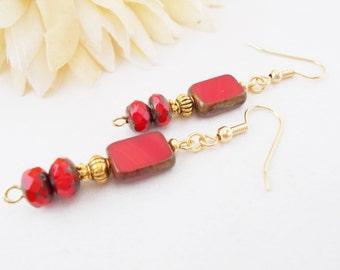 Red Boho Earrings, Czech Glass Earrings, Beaded Earrings, Clip On Earrings, Red Drop Earrings, Hypoallergenic, Gypsy Earrings, Bohemian