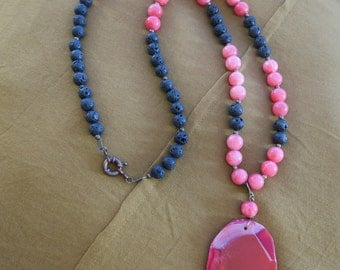 Boho pink agate and black lava long necklace