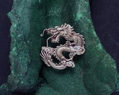 Spring Sale 10% Chinese Imperial Dragon Brooch or Pendant in Sterling Silver