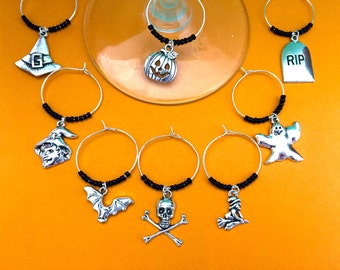 Halloween Wine Charms for Halloween decor and party home decor for halloween party. Pumpkin, Bat, Witch, crossbones, ghost.