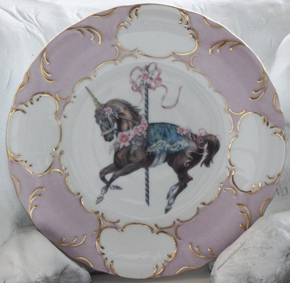 Gold and Pink Unicorn Dinner Plates 10.5  Carousel Horse Dinnerware Equine Dishes & Gold and Pink Unicorn Dinner Plates 10.5