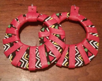 Leather and african print fabric hoop earrings.