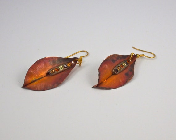 Photo: Copper Leaf Earrings, Long Earrings, Boho Jewelry, Seventh Anniversary, Copper Anniversary, Long Copper Drop Earrings, Hand Forged by andreaturinijewelry