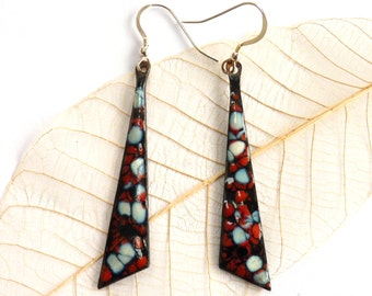 Enamel earrings ~ long enameled copper ear rings black red and white frit design, with sterling silver ear wires unique jewelry gift for her