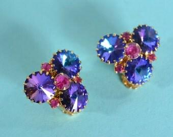 Vintage 1960s Rivoli Earrings - Jewel Tone Rhinestone - Wedding Bridal Fashions