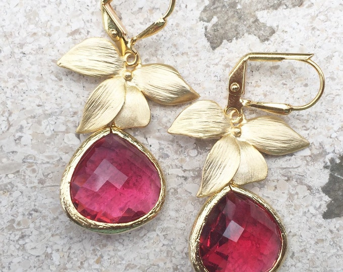 Ruby Red Teardrop Drop Earrings with Gold Orchid. Dangle Earrings. Bridesmaids Earrings. Jewelry Gift.  Drop Earrings. Christmas Gift.