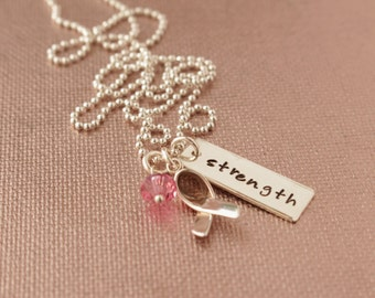 Strength Hand Stamped Sterling Silver Tag Sterling Silver Awareness Ribbon Necklace- Hand Stamped, Strength, Awareness Ribbon, Sterling