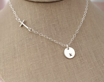 Sterling Silver Hand Stamped Initial Pendant & Sideways Cross Necklace- Faith Cross Necklace, Sterling Silver Christian, Religious Cross