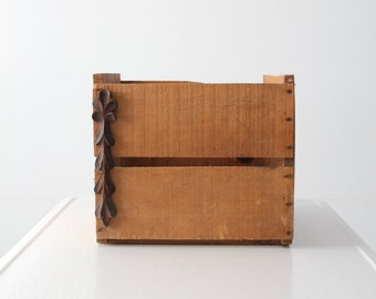 vintage wood crate, wooden box with carved wood detail