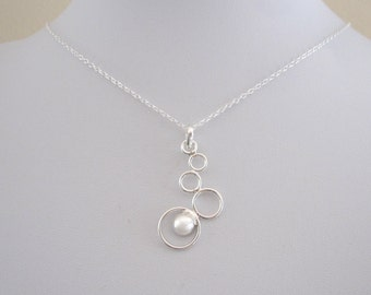 Floating graduated CIRCLES BUBBLES sterling silever necklace, modern geometric necklace
