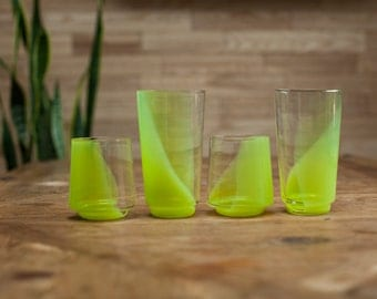 Lime green hand blown set of cool contemporary drinking glasses