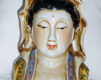 Chinoiserie Hollywood regency beautiful vintage bust of Kwan yin Buddha goddess