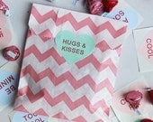 XOXO SALE 24 Valentine Party Bags and Heart Conversation Stickers, Pink and Red Chevron Favor Bags and Valentine's Heart Stickers, Wedding C