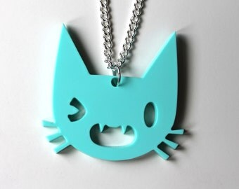 Winky cat mint pendant on silver chain necklace