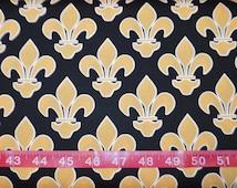 Exclusively Quilters. Fleur de Lis Black/Gold - BTY Cotton Fabric - Choose your cut