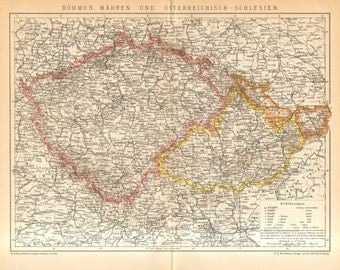 1894 Antique Map of Historical Regions in Central Europe, Bohemia, Moravia and Silesia