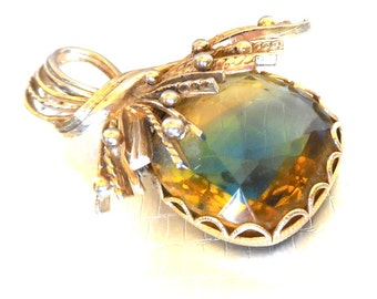 Brooch Yellow Blue HUGE 2 tone Crystal Gold tone Modern 60s Statement Fashion  Chic