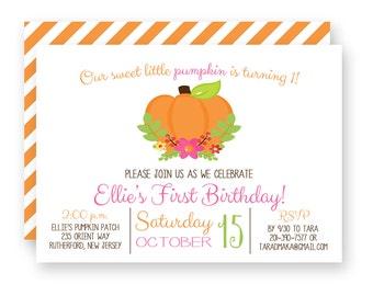 Pumpkin Patch Birthday Invitation, Pumpkin Theme Birthday Party Invitation,