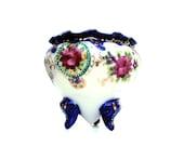 Antique Porcelain Moriage Vase Vintage Nippon Vanity Jar Hand painted Gold Cobalt Blue Pink Roses