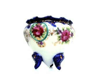 Antique Floral China Porcelain Moriage Vase Holiday Gift Vintage Nippon Vanity Jar Hand painted Gold Cobalt Blue Pink Roses