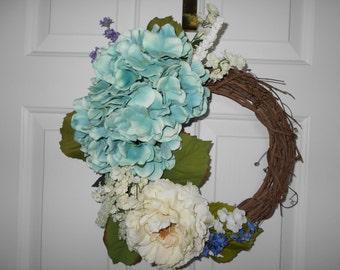grapevine wreath, hydrangeas, peony, summer wreath, flower wreath, 15x 15