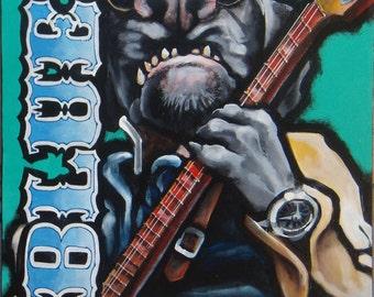 "Blues Dog - 18"" x 24"" Acrylic on canvas"