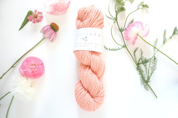 Coral Pink Hand Dyed Yarn, Pure Merino Wool