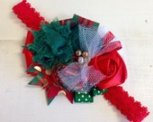 Elegant Red, Green & Gold floral headband/ hairclip