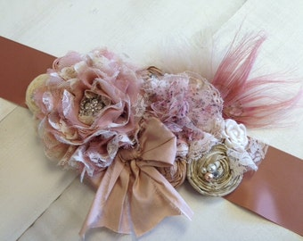Soft Blush & Neutrals Rosette Wedding or Maternity Sash Vintage-inspired w/ Handrolled Fabric Rosettes and Feathers