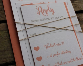 Rustic, Kraft and Coral Wedding Invitation Set, Calligraphy Font with Hearts, Neutral, Romantic with Twine