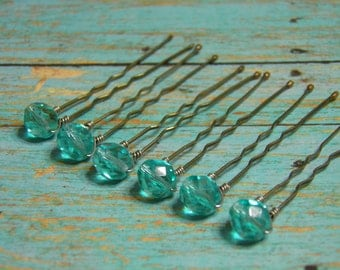 6 Light Aqua 8mm Crystal Hair Pins