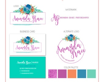 Branding Set - Flowers Watercolor - Logos, Watermark, Business Card - Customizable for your business - Predesigned - Option to retire design