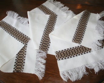 Three 3 Vintage Woven Mid Century Placemats  Scandinavian Style Brown Cream Geometric Design