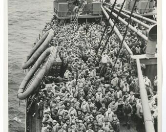 World War Ii - Vintage Publication 8x10 Photograph - Troops on Transport Ship