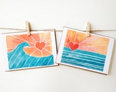 """Eights sets of eight (8) 3 1/2"""" X 5"""" surf notecards"""