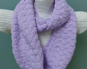 Lavender Infinity Scarf - Lilac Crochet Scarf - Pastel Eternity Scarf - Neckwarmer - Lilac Neckwrap - Women Accessories - by lanesamarie