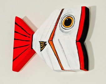 Wood Fish Decor Painted White and Red Original Folk Art Handmade in Mississippi by Christine Schultz