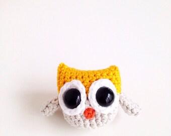 Crochet Owl - Yellow and Grey