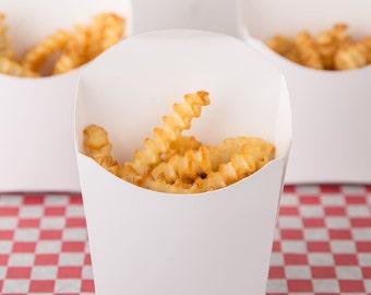 12  White French Fry Boxes , Popcorn Box , Treat Box,  Favor Box