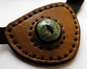 Leather Eye Patch Steampunk Tan Eyepatch Green Glass Eye