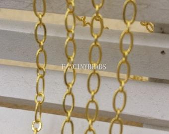 Quantity 10 meters-BulkSale-33 feet fabulous oval loop gold brass chain- -F1344
