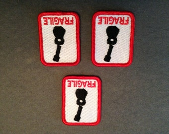 Fragile Patch For Your Ukulele Or Guitar Case - Set of 3 Embroidered