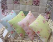 Dollshouse Miniature Cushions, Pillows. Set of 4 Pretty Florals