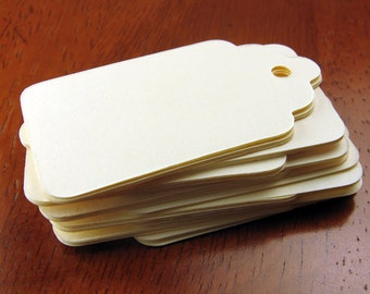 Paper Gift Tag in Ivory - Small, Medium, Large Sizes for Gift Packaging, Price Tag, or Scrapbooking - DIY Set of 50 Tags