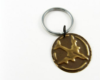 Airplane Keychain (Rustic Brass Key Fob or Key Chain for Dad, Pilot)