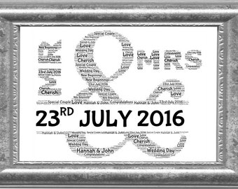 Mr & Mrs Personalised Word Art Wedding Print, Perfect present, Keepsake, Memory